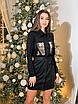 Замшевое коротенькое платье-рубашка с блестящими карманами, размеры: 42-44, 44-46, цвета - бордовый, черный, фото 3