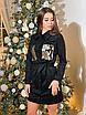 Замшевое коротенькое платье-рубашка с блестящими карманами, размеры: 42-44, 44-46, цвета - бордовый, черный, фото 2