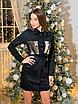 Замшевое коротенькое платье-рубашка с блестящими карманами, размеры: 42-44, 44-46, цвета - бордовый, черный, фото 4