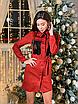 Замшевое коротенькое платье-рубашка с блестящими карманами, размеры: 42-44, 44-46, цвета - бордовый, черный, фото 5