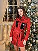 Замшевое коротенькое платье-рубашка с блестящими карманами, размеры: 42-44, 44-46, цвета - бордовый, черный, фото 6