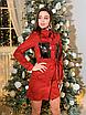 Замшевое коротенькое платье-рубашка с блестящими карманами, размеры: 42-44, 44-46, цвета - бордовый, черный, фото 7