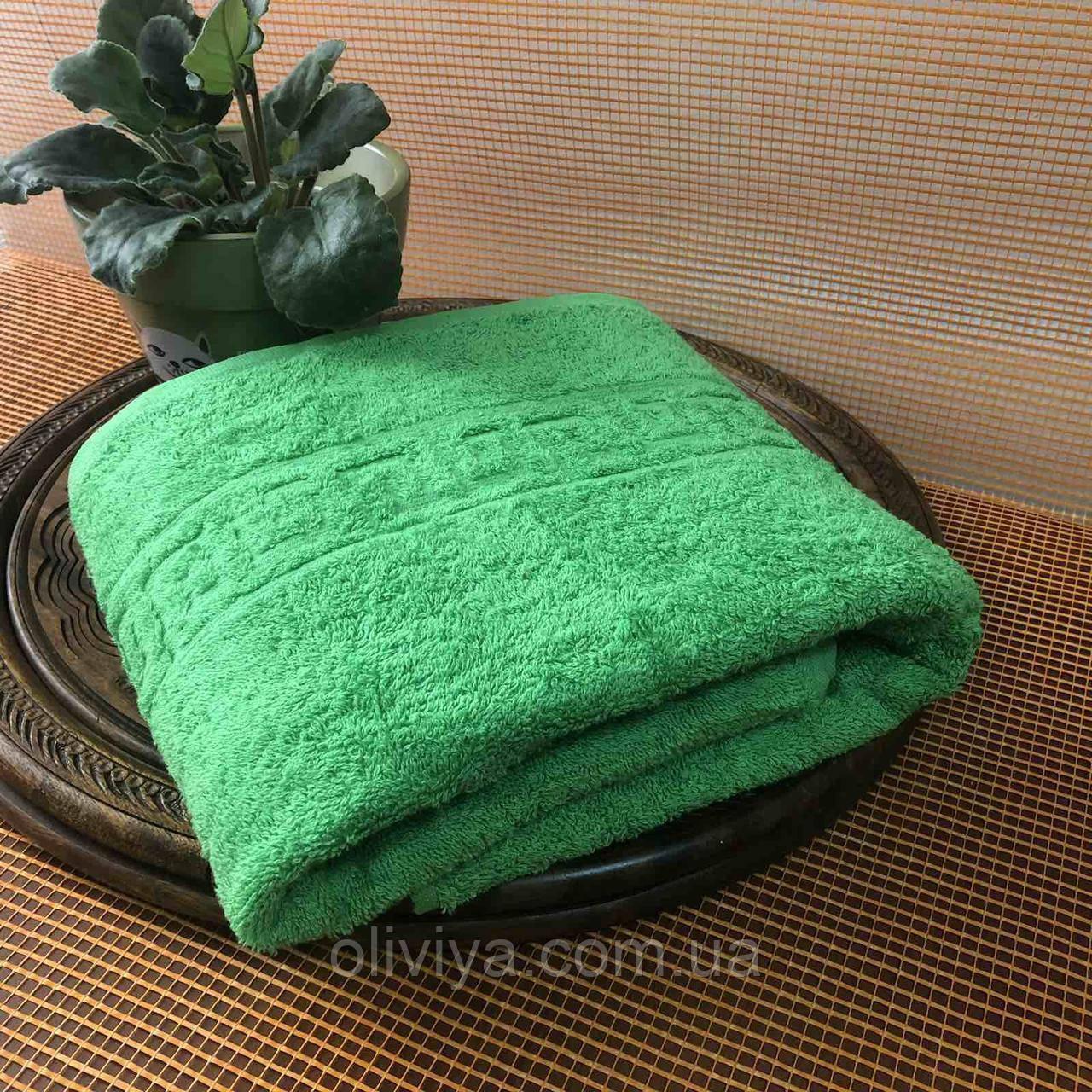 Простынь махровая 100% хлопок зеленая