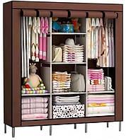 Шкаф тканевый раскладной на три секции 130х45х175 см Storage Wardrobe 88130 Коричневый