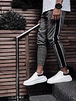 Мужские зауженные брюки серого цвета в клетку с лапасом