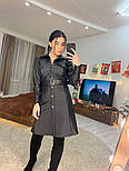 Женское платье на кнопках из эко-кожи с ремнем (в расцветках), фото 6