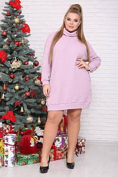 ❤/ Размер 48-72 / Платье - туника Саманта, Цвет розовый / Зима / Больших размеров