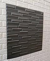 3D панель самоклеящая Обои под декоративный кирпич Самоклейка 3Д Серый косой кирпич