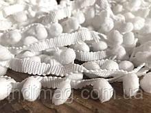 Тесьма шарики пумпоны  белая