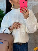 Белый женский свитер с узорами