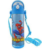 Термос детский с поилкой и шнурком на шею Disney 9030-500 500мл Spider Man Голубой