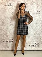 Женское платье из фактурной плетенной ткани в пайетку Poliit 8681