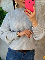 Теплый жеснкий свитер серого цвета