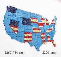 Карта США на стену с фанеры и мха