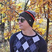 Брендовая мужская вязаная шапка Gucci серая шерсть стильная новинка 2019 года зимняя на флисе Гуччи реплика