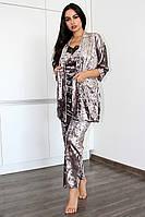 РАЗНЫЕ ЦВЕТА!!! Велюровый теплый домашний комплект халат и пижама с брюками, одежда для дома