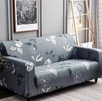 Чехол для трехместного дивана, серый в цветочек