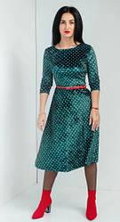 Молодёжное велюровое платье в горошек с поясом в комплекте