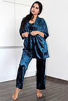 Домашняя одежда, бархатный комплект халат и пижама( майка+штаны)