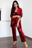 Домашняя одежда, комплект из велюра халат и пижама( майка+брюки)