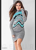 Платье молодежное тёплое стильное под шею размер универсальный44-52,серого цвета, фото 1