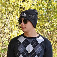 Модная мужская вязаная шапка The North Face темно-серая теплая молодежная демисезонная Нос Фейс люкс реплика