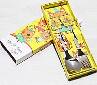 Детский набор ложка и вилка Три кота (2 предмета), фото 1