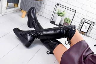 Кожаные ботфорты без каблука