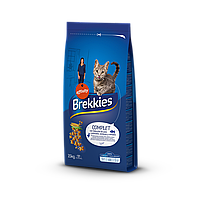 Сухой корм Brekkies Cat Complet для взрослых котов с курицей, тунцом и овощами 15 кг
