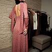 Нарядное платье миди с люрексом открытой спиной длинным рукавом и оригинальной деталью розовое золото, фото 5