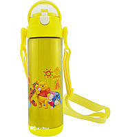 Термос детский с поилкой и шнурком на шею Disney 9030-500 500мл Винни Пух Желтый