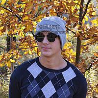 Стильная мужская шапка Champion светло-серая Турция Чемпион Трендовая Красивая зима VIP Молодежная реплика