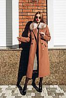 Длинное зимнее пальто с мехом Арктической лисы O.Z.Z.E Д 309