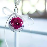 Брелок шар Стабилизированная роза + гортензия Lerosh - Ярко Розовый, Диаметр шара 5 см