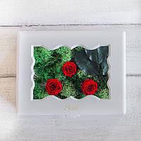 Композиция Стабилизированные розы и растения Шкатулка Lerosh, 15*20 см