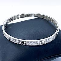Браслет зі срібла 925 Beauty Bar в стилі картьє love з цирконами, фото 1
