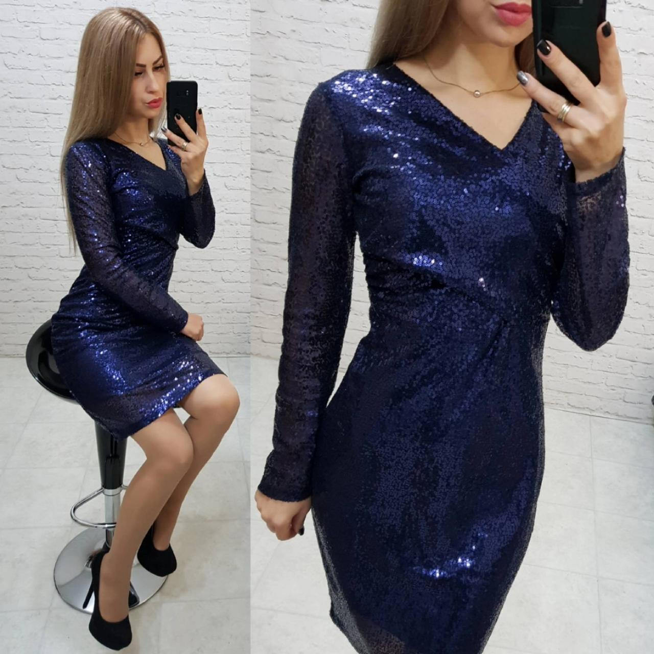 Нарядное женское платье с пайетками синее арт 139