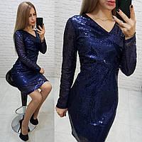 Нарядное женское платье с пайетками синее арт 139, фото 1