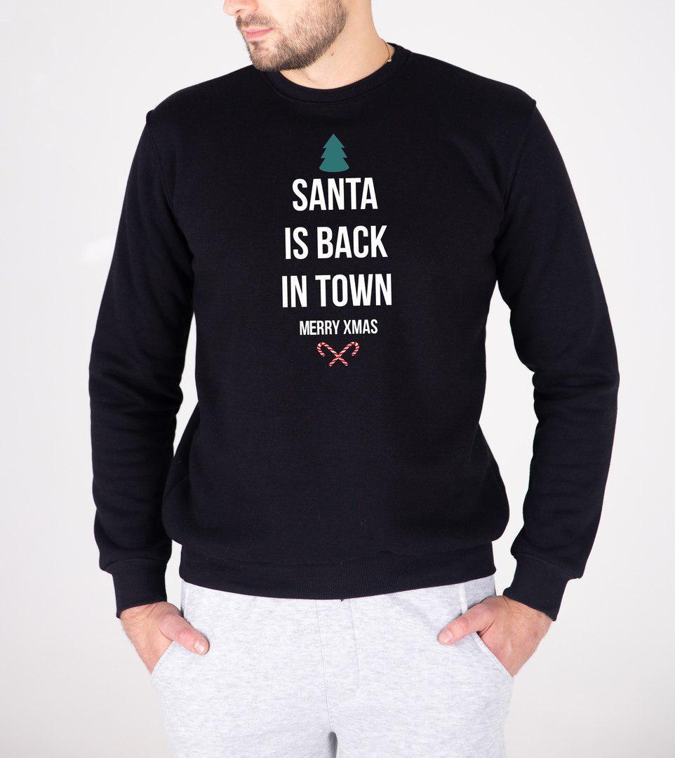 Мужской утепленный свитшот черный Santa is back in town
