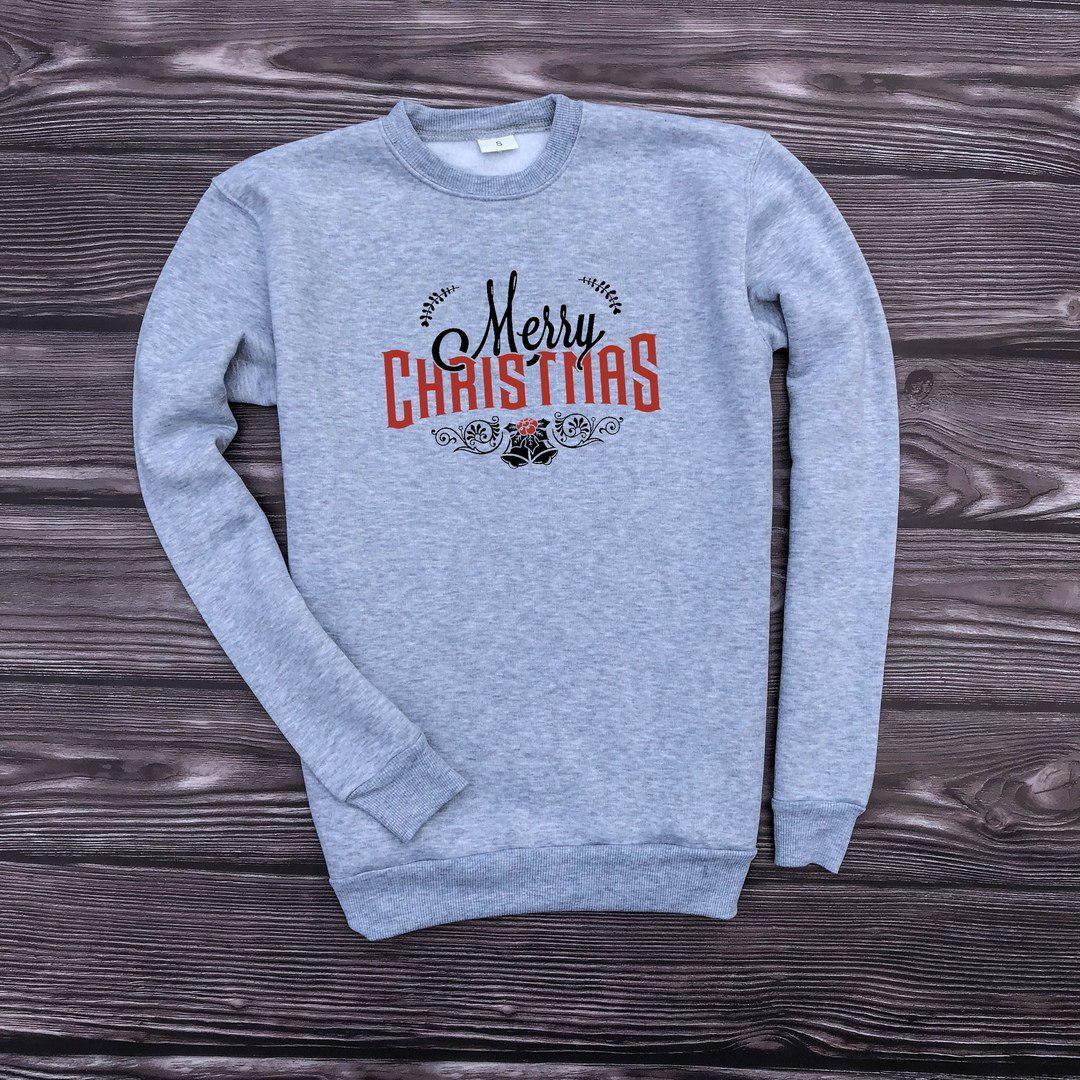 Мужской утепленный свитшот серый Merry Christmas
