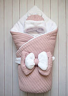 """Зимний конверт-одеяло на выписку """"Розовая косичка"""" 90*90см с шапочкой"""