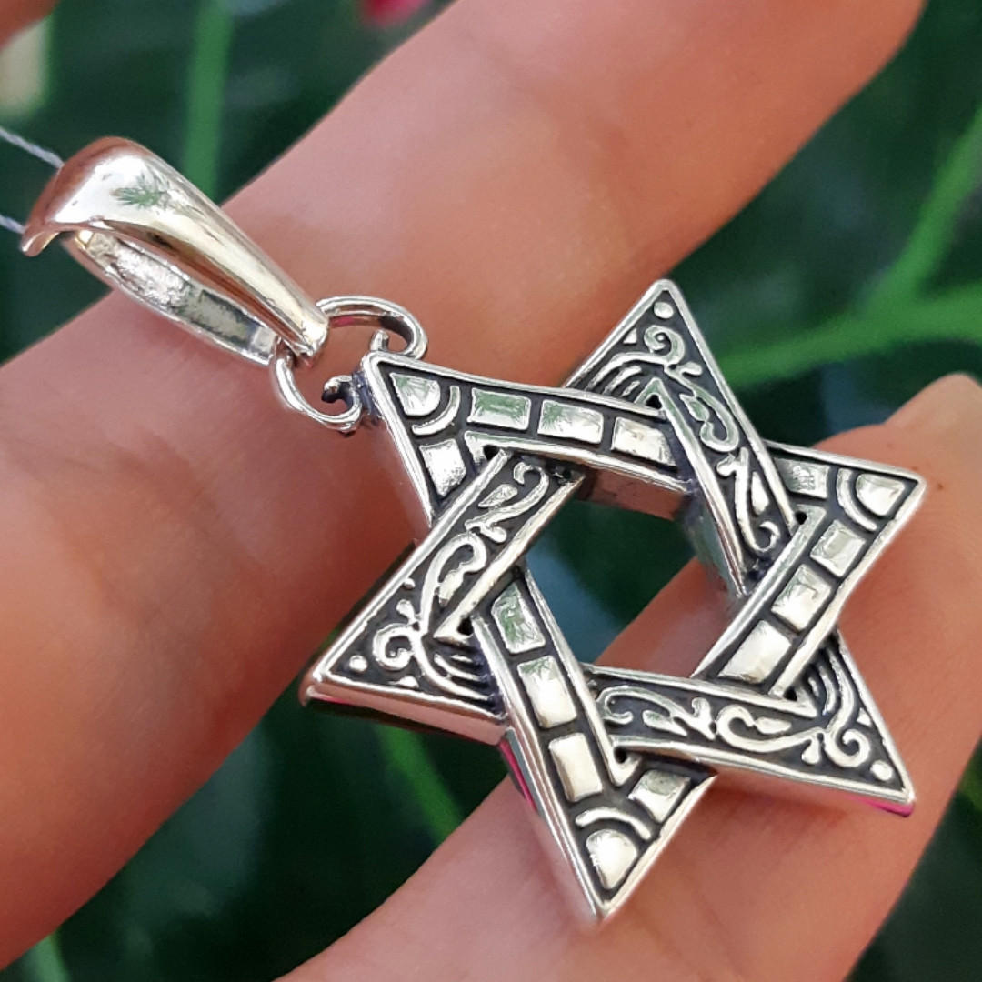 Серебряный кулон Звезда Давида - Звезда Давида подвеска мужская серебро
