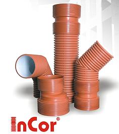 Трубы и фитинги INCOR - двухслойная гофрированная канализация из ПП (SN8)
