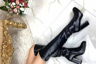 Кожаные ботфорты на каблуке