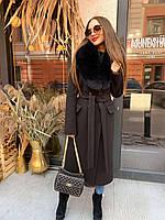 Длинное зимнее пальто с мехом песца O.Z.Z.E Д 309