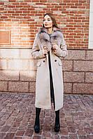 Длинное зимнее пальто с мехом лисы O.Z.Z.E Д 309