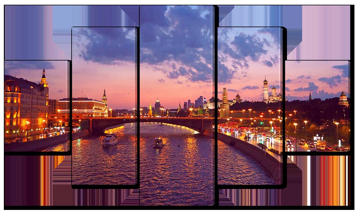Модульная картина Interno Эко кожа Мост над рекой в Москве  185х106см (A5770XXL)