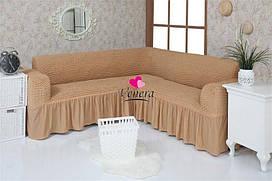 """Комплект чохлів на кутовий диван з воланами """"Venera"""""""