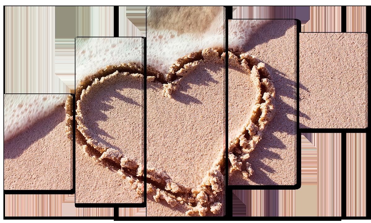 Модульная картина Interno Холст Сердце на пляже 142х80см (R6633L)