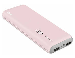 УМБ Power Bank (внешний аккумулятор) для телефона TRUST PWB-100 10000 мАч Розовый, фото 2